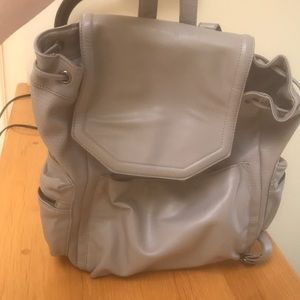 Topshop Gray Leather Backpack